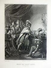 Gravure Geoffroy d'après G. Rouget - MORT DE SAINT LOUIS