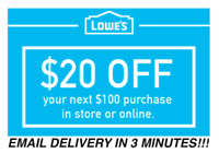 TWO (2X) $20 OFF $100 LOWES PRINTABLE 2Coupons Lowe's In store FAST Delivery