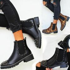 Womens Chunky Black Chelsea Ankle Boots Studded Spike Black Pull On Punk UK