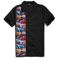 Route 66 US Printed Rockabilly Men Shirts Cotton Black Vintage Punk Style