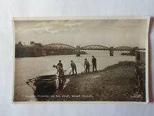 Salmon Fishing with a net on the River Kyle Bonar Bridge Unposted RPPC A.2037