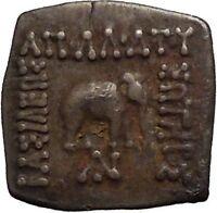 APOLLODOTOS I 174BC Ancient Greek India Bull Elephant Genuine Silver Coin i52269