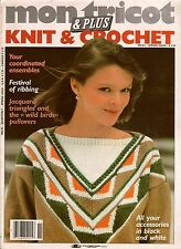 Mon Tricot MD 85 Knitting Crochet Patterns Wild Bird Sweaters Flamingo 1980