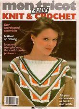 Mon Tricot MD 85 Knitting Crochet Patterns Wild Bird Sweaters Flamingo 1980