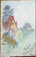 Original Art/Hand-Painted 1910 Postcard: Rural Scene, Artist-Signed
