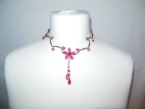 Ruby Bead & Crystal Necklace Choker Rare & Unique Flower Style