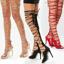 Womens Ladies Lace Up Thigh High Rose Gold Strappy Stiletto Heels Party Shoes