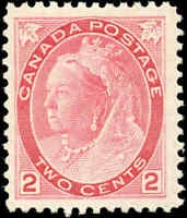 1899 Mint H Canada F+ Scott #77 2c Queen Victoria Numeral Issue Stamp