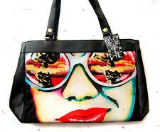 Edgy Punk Rock Apocalypse Mushroom Cloud Pop Art Girl Large Leather Purse Bag