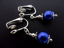 A PAIR OF SHORT BLUE GLASS   PEARL  DANGLY CLIP ON EARRINGS. NEW. 8MM.