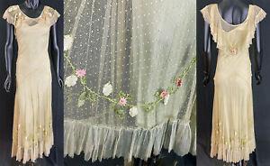 VTG 1930s Mint Green Swiss Dot Net Pastel Felt Flower Trim Bias Cut Dress /Slip