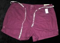 Shorts Maurices Size 18 NWT's Purple Linen Belt Cuffs Retail = $34