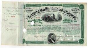 1882 E.H. Harriman signed Northern Pacific Railroad Company Stock Certificate