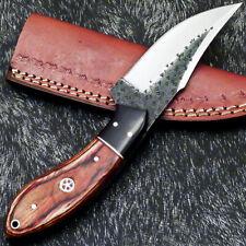 Custom Hand Forged Railroad Spike Carbon Steel Fixed Skinning Blade Knife1043