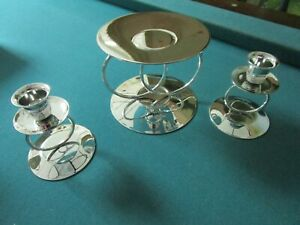 METAL GLOW SET OF 3 RING CANDLE HOLDERS SILVERPLATE NEW 3 PCS