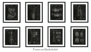 Set of 8 Jazz Instruments Patent Wall Art Prints (8x10) Gifts for Music Lovers