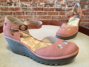 Fly London Rose Pink Nubuck Leather Yuna Ankle Strap Wedge Shoes 37 6 NEW