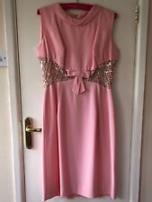 LADIES Blanes couture VINTAGE 60s PINK party cocktail evening DRESS 16 fits UK12