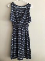 Athleta Gray Black Printed Ruched Wrap Sleeveless Dress Womens Sz Small S