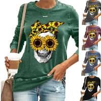 Damen Fasching Pullover Schädel Langarm Tunika Basic Tops T-Shirt Bluse Winter