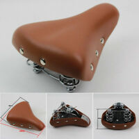 Vintage Retro Leather Bicycle Bike Cycle Saddle Seat Pad Cushion +Spring Comfort