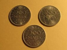 ESTATE Lot of (3) Germany, Weimar Republic 200 Mark, 1923 A, D & F Coins.