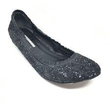 Women's Vera Wang Lavender Slip On Ballet Flats Shoe Size 8.5 Black Full Glitter