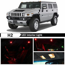 2003-2009 Hummer H2 Red Interior + License Plate LED Lights Package Kit