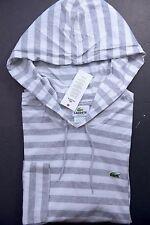 NWT Lacoste Men's Lightweight White/Gray Striped Cotton Hoodie Shirt XL Eur 7