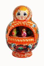 Boite à musique Fait Main -Matriochka orange -Cadeau Souvenir Russe