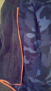 Mini Boden Boys 10 12  Reversible Coat Jacket Zip Hoodie Blue Camo Gray Orange