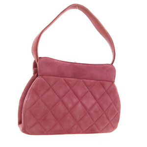 CHANEL Quilted CC Hand Bag 4866425 Purse Pink Suede Leather Vintage Auth 01117