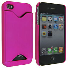 Hot Pink Back Cover Case with Credit Card Holder for iPhone 4 / 4S
