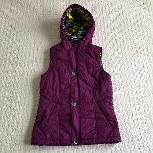 BURTON Dry Ride Womens Sz Sm Purple Puffer Hooded Ski Snowboard Winter Vest
