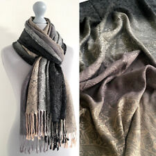 Ladies Grey Paisley Scarf Pashmina Womens Shawl Vintage Long Reversible Cotton