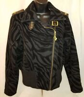 Baby Phat Womens Black Gray Tiger Print Jacket Coat Size L
