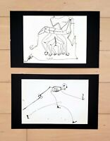 FRANCISCO TOLEDO INK ON PAPER PAIR DRAWINGS