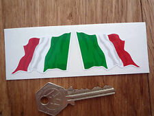 "Italian 'il Tricolore'  Wavy Flag Car or Bike STICKERS 2"" Pair Italy Italia"