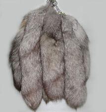 """15"""" Genuine Red Fox/Silver Fox Tail Key Chain Fur Tassel Bag Tag Charm Key Ring"""