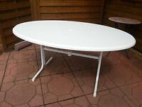 Gartentisch oval weiss, klappbar, stabile Tischplatte, 155x115 cm 72 cm hoch