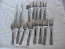 International Stainless INS590 Glossy, Frost Wave Design Knives Spoons Forks 15P