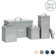 5x Kitchen Storage Canisters Set Tea Coffee Sugar Bread Vintage Metal Grey