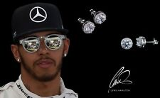 Men's/boy's Lewis Hamilton 18ct White Gold Plated Crystal Diamond Earrings