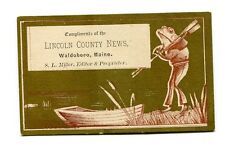 Victorian Trade Card LINCOLN COUNTY NEWS Waldoboro Maine frog w rowboat