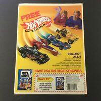 VTG Retro 1987 Kellogg's Rice Krispies FREE Hot Wheels Vehicles Print Ad Coupon