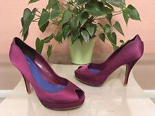 Ladies Kurt Geiger KG purple satin peep toe court shoes UK 4 EU 37 RRP £65