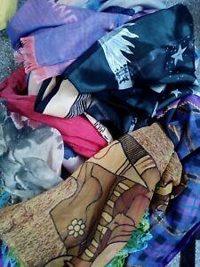 Job Lot Of Scarves Shawls Ladies Mixed bundle used