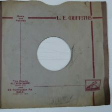 "78 rpm 10"" inch card gramophone record sleeve L.E. GRIFFITHS ALTRINCHAM + SALE"