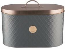 Typhoon Living Lid Bread Bin Stainless Steel Grey Copper Storage 34 X18.5x20 Cm