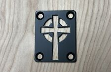 Celtic Cross Neck Plate for your Guitar or Bass - Industrial Black